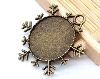 15pcs Round Antique Silver toneAntique Bronze Snowflake Pendant Trays,Blank Pendant Bases,25mm Bezel Pendant Settings for Glass or Stickers