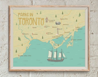Toronto Map Print | Illustrated Map | Toronto Parks