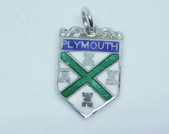 silver enameled plymouth charm