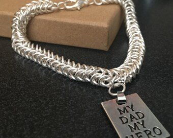 """Box Chainmaille Bracelet with """"My Dad My Hero"""" Tag A great Father's Day Gift"""