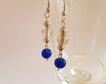 Blue and Silver Glass bead drop earrings