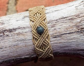 Handmade Macrame Bracelet with Green Stone Bead