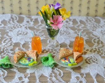 1:6 2 Toasted Cheese SandwichW/cabbage salad(mayo Dressing),pickles,iced tea&napkinsBarbie foodDoll foodBarbie accessoryDoll accessory