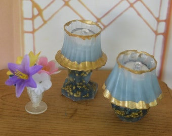 1:6 Barbie/Doll/Dollhouse Lighted Lamps done in blue w/ gold stones. Shade is blue w/gold trim. Your choice of fluted or round base.