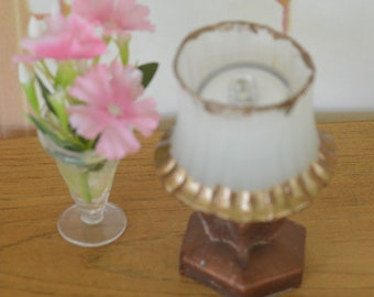 """1:6 Barbie/Doll/Dollhouse Lighted lamp with brown base and white shade w/ bronze trim. 3"""" tall  Barbie furniture Dollhouse furniture"""