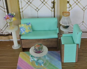 """1:6 Barbie/Doll/Dollhouse Couch/Chair/Pillow (Only) done in an aqua faux textured leather.  Couch-61/2"""" arm to arm Chair-3 1/2"""" arm to arm"""