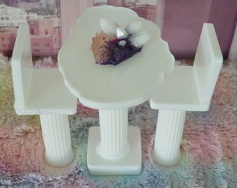 1:6 Barbie/Doll/Dollhouse.  Kitchen or dinette area - Table with 2 chairs with backs done in white resin. Barbie kitchen Barbie furniture