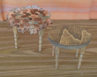 1:6 Barbie/Doll/Dollhouse - Your choice of coffee table - wood or lucite w/stones. Tables have wooden legs. Barbie furniture Doll furniture