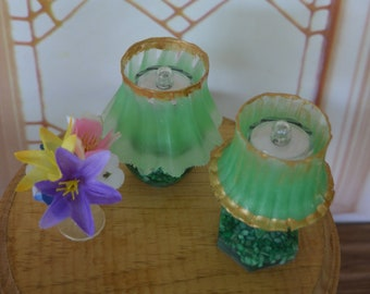 Barbie/Doll/Dollhouse Lighted Lamps done w/ green shade & gold trim. Your choice of round base or fluted base w/ green stones.