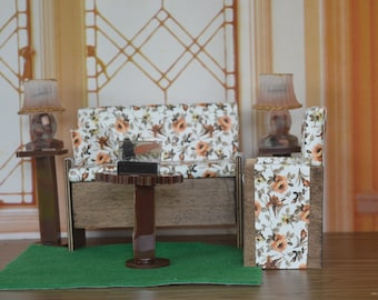 1:6 Barbie/Doll/Dollhouse - Couch/Chair/Pillow (Only)  done in a floral print with oranges & greens. Couch/Chair have wood trim.