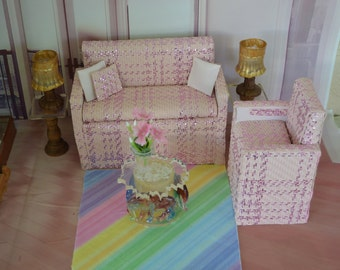 """1:6 Barbie/Doll/Dollhouse Couch&Chair(Only) done in pink fabric w/a slightly darker pink strip. 8"""" long couch arm to arm/5"""" chair arm to arm"""