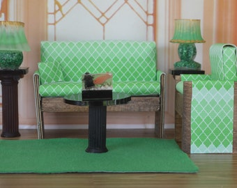 1:6 Barbie/Doll/Dollhouse Couch & Chair (Only) done in a green Morocco print. Barbie furniture Dollhouse furniture Doll furniture