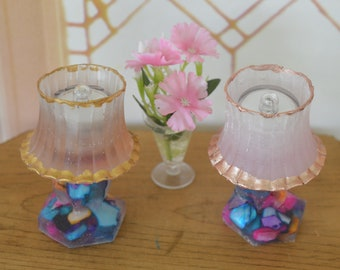 1:6 Barbie/Doll/Dollhouse -  Lighted lamps w/ base done in assorted color seashells. Shade - Your choice of pale beige or pale pink.