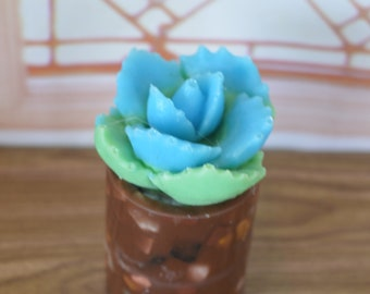 """Barbie/Doll/Dollhouse Cactus in a look alike brown pottery pot w/ stones. 3 1/2"""" tall. Barbie plants Dollhouse plants Doll plants"""