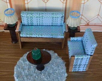 1:6 Barbie/Doll/Dollhouse Two-tone blue faux leather couch/chair/pillow (Only).  The couch & chair have wood trim.  Barbie furniture