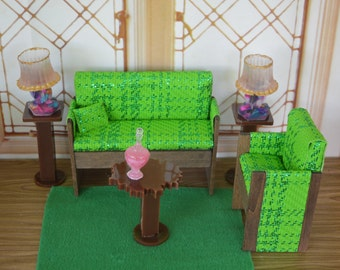 """1:6 Barbie/Doll/Dollhouse - Couch/Chair/Pillow (Only) done in 2 tone green fabric.7 1/2"""" long sofa arm to arm.Barbie furnitureDoll furniture"""