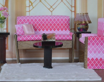 1:6 Barbie/Doll/Dollhouse - Couch/Chair/2 Pillows done in a pink Morocco print. The couch-Chair have wood trim. Barbie furniture