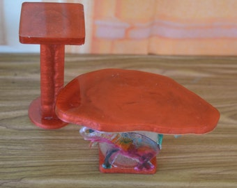 1:6 Barbie/Doll/Dollhouse - Set of coffee table w/ elephants & 2 end/accent tables all done in a red copper resin. Barbie furniture