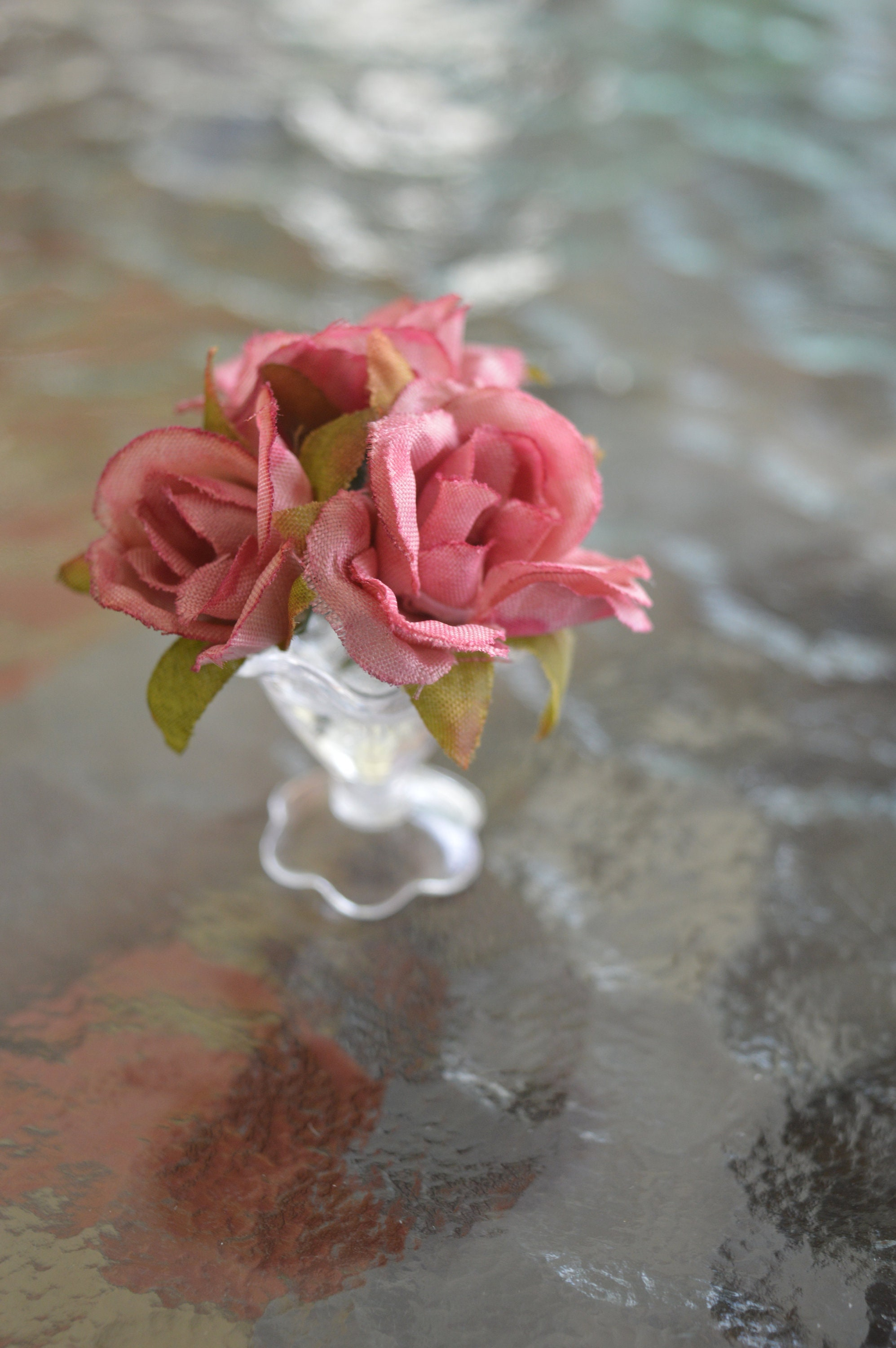 16 Floral Arrangement Silk Roses Ina 2 Tone Pink And Etsy