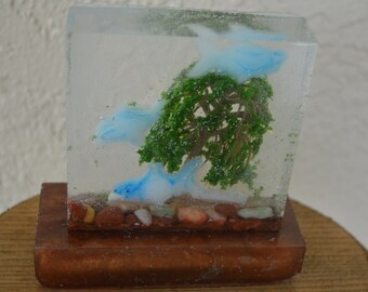 Barbie/Doll/Dollhouse Aquarium/Fish-Shark Tank w/ a tree/3 sharks and on a base. Made from resin. Barbie furniture Dollhouse furniture