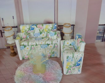 1:6 (Barbie size) Couch and Chair (only) in a white background  fabric with flowers. Two pillows included. Barbie furniture Doll furniture
