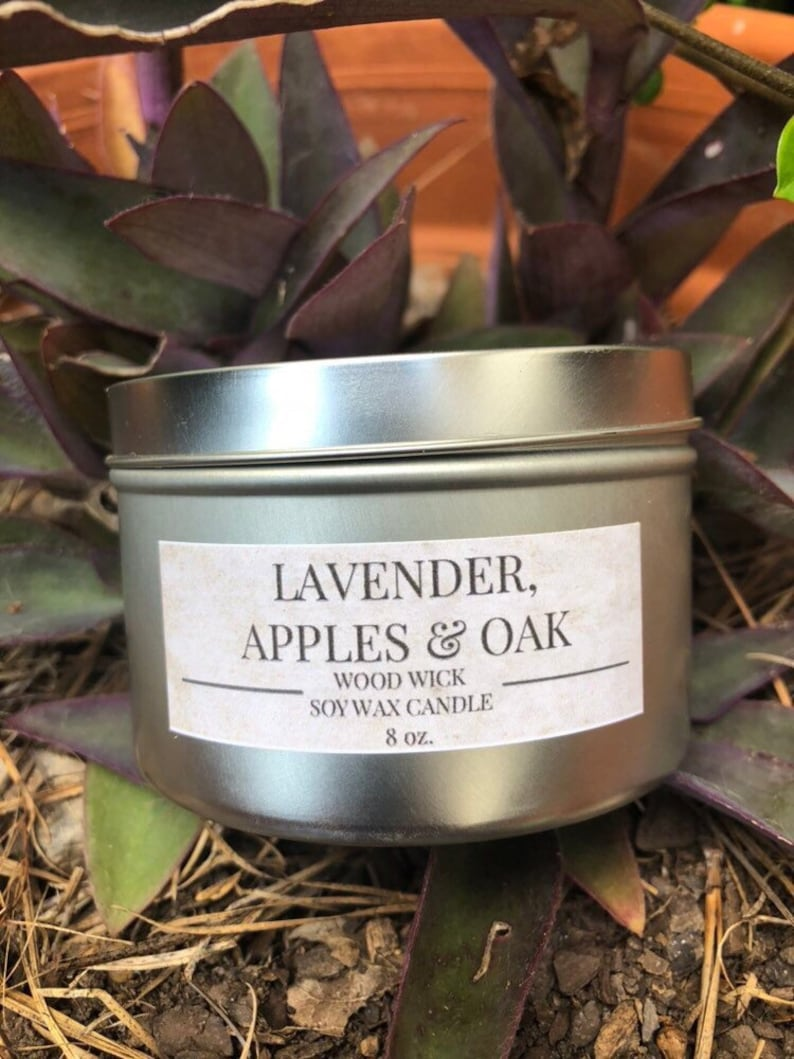 LAVENDER APPLES /& OAK Wood Wick Soy Wax Candle