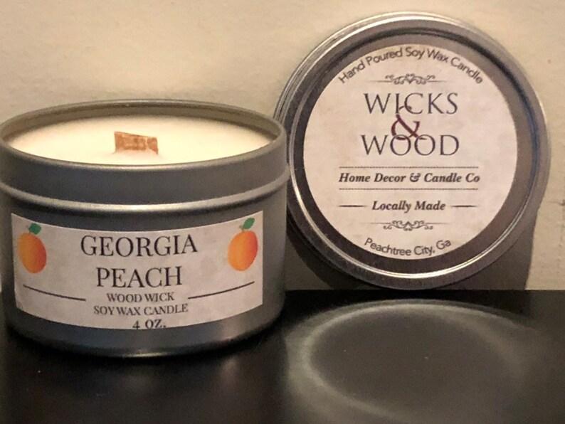 Georgia Peach Wood Wick Soy Wax Candle