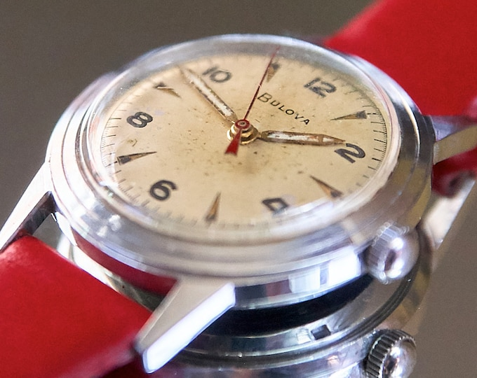 """Vintage 50s Bulova Mens Military Style Watch • 1950 """"Watertite"""" • Restored Mechanical Wristwatch • Choice of 3 Premium Leather Watchbands"""