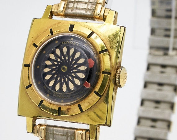 Vintage 1950s Space Age Cocktail Tiny watch - Mid-century Ernest Borel - Mesmerizing Kaleidoscope Dial - serviced + 6 mo warrantay