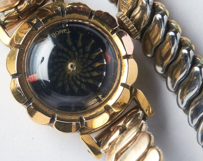 """Vintage 1950s Ernest Borel Ladies Kaleidoscope """"Cocktail"""" Watch • 40 Micron Rose Gold Plated Scalloped Round Case • Heirloom Estate Jewelry"""