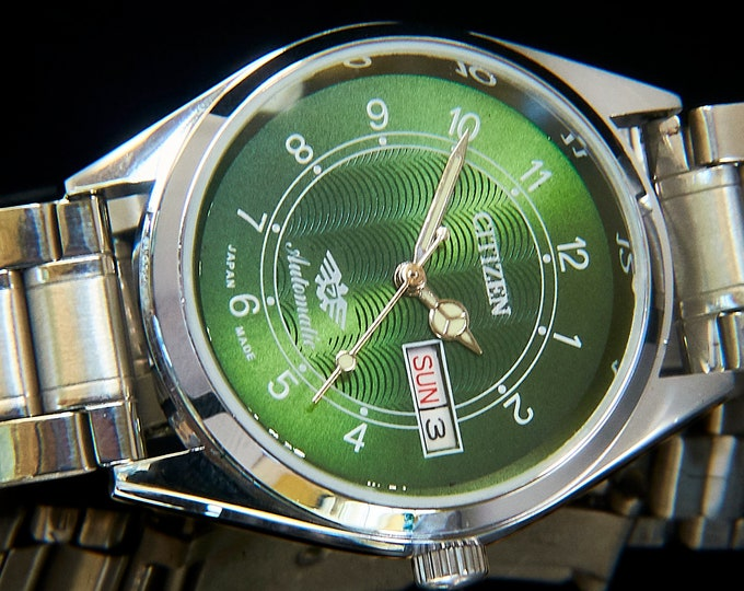 FLASHY Men's/Unisex CUSTOM MOD 70s Citizen Watch | Green, Blingy, Bold, Heavy...Awesome | Handmade Limited Edition