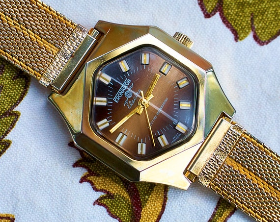 "1960s Unisex Kronatron ""Electra"" Gold Watch 