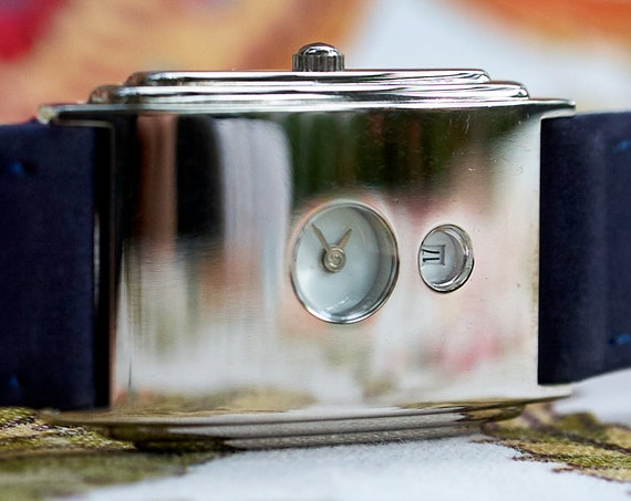 Vintage 90s Storm of London Unisex Art Deco Revival Watch | Quick Release Blue Suede Leather | Free batteries for life!