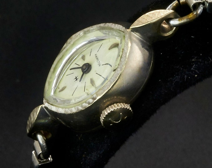 Vintage 1964 Hamilton Marquise Cocktail Watch •60s American Mid Century Modern •Women's Silver & White Gold Heirloom Estate Jewelry