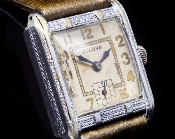 "1920s Art Deco Watch   1929 Bulova ""Ambassador"" Ladies Tank Watch   Fabulous and Stately   Chunky Antique Bracelet Watch"