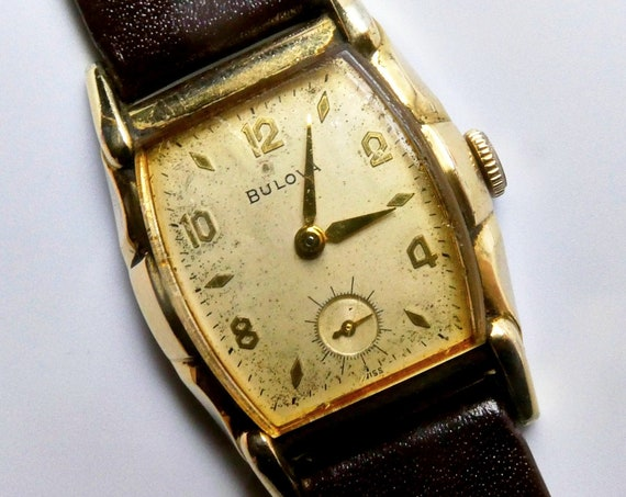 "Mid-Century Modern Bulova Watch for Men or Ladies   1950s Bulova ""Director""   Antique Mechanical Timepiece   Boyfriend Gift Idea"