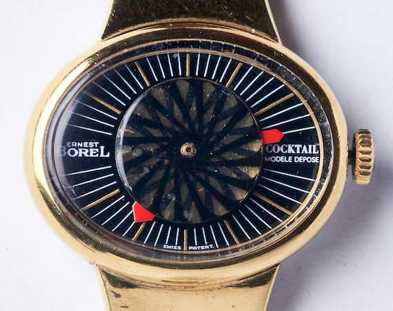 "1960s Kaleidoscope Watch - 14k gp, minty condition - Ernest Borel ""Cocktail"" watch"