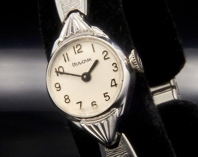 """Vintage Bulova """"Concerto"""" • Women's Designer Cocktail Round Watch • Heirloom Estate Jewelry • Mid Century Modern Swiss Luxury Design"""