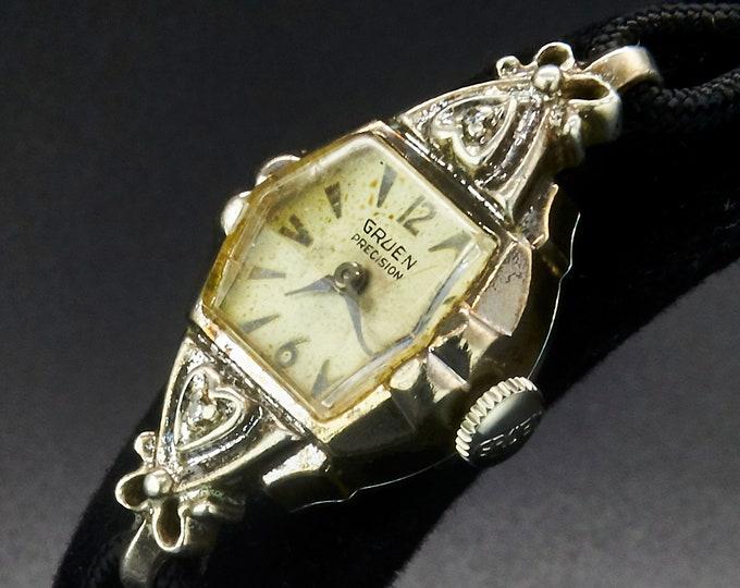 Vintage 1950s Gruen Precision Diamond Cocktail Watch •White Gold Ladies Heirloom Wristwatch •Silvery Art Deco Style Antique Estate Jewelry