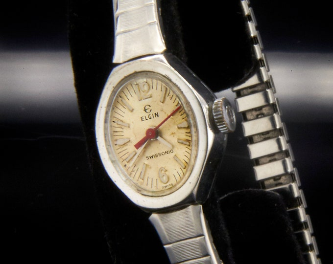 Vintage 70s Lady Elgin Swissonic • Ladies Cocktail Shiny Silver Bracelet Wristwatch • Collectible Historic Early Model Electric Watch