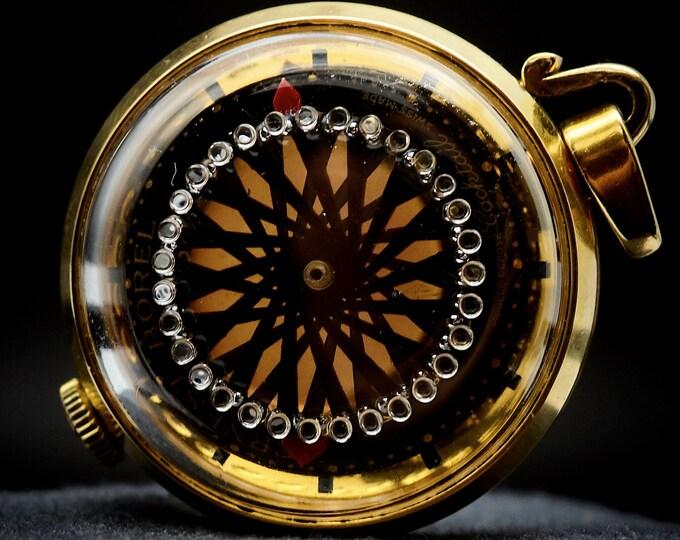 "Mesmerizing 1970s Ernest Borel Kaleidoscope ""Cocktail 4331"" Pendant Sparkling Gold-on-Black Dial • Vintage Heirloom Estate Jewelry"