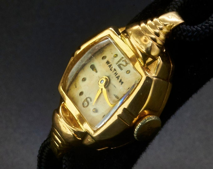 "Solid 14k Gold 1948 Vintage Waltham ""Nettie, Series 33"" Ladies Cocktail Wristwatch • Precision Balance •Art Deco Estate Heirloom Jewelry"
