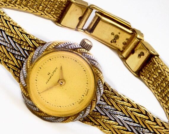 Solid 14k Vintage 1930s Hamilton Watch • Ladies Gold Cocktail Bracelet Wristwatch • 30s Art Deco Estate Heirloom Jewelry