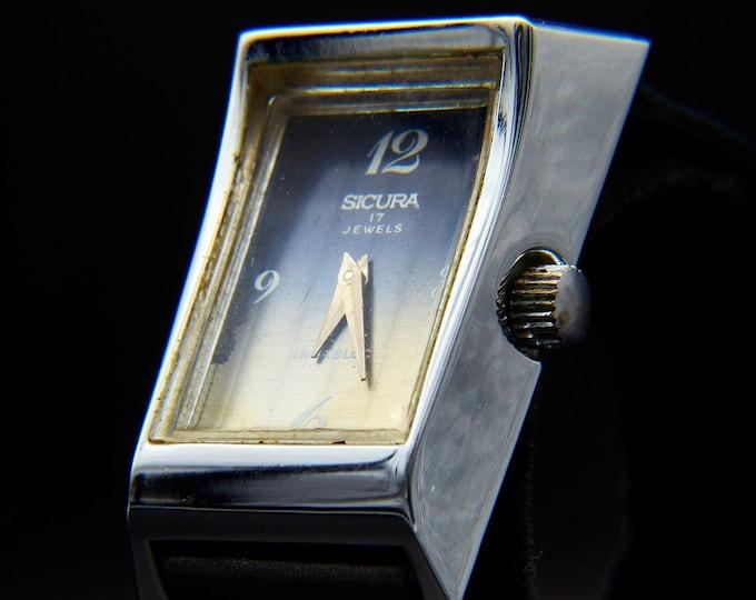 1960s Sicura (Breitling) Vintage Womens Watch | Assymetrical Jewelry | Mid Century Modern Bracelet Watch | Pop Art Jewelry | 1960s Bracelet