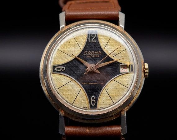 Striking 1960s Sorna watch - Gold & Black cross dial - serviced + 6 mo warranty