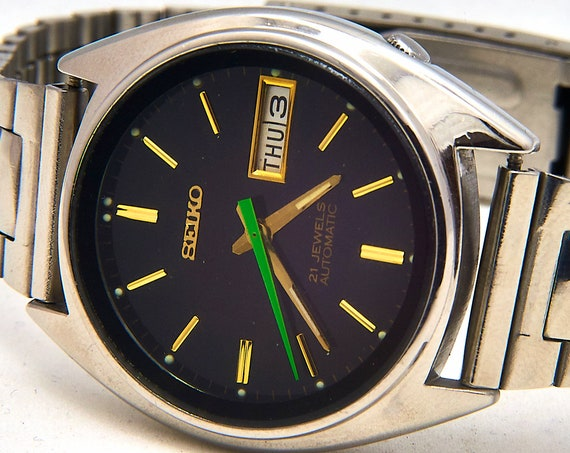 Hand Built Custom Mod 1980s Vintage Seiko • Men's Stainless Steel Automatic Watch • Tokyo Style 80s Anime Aesthetic • Made in Japan 1981