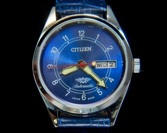 Unisex CUSTOM MOD 70s Citizen Watch   Blue, Blingy, Bold, Heavy...Awesome   Vintage Self-winding day/date