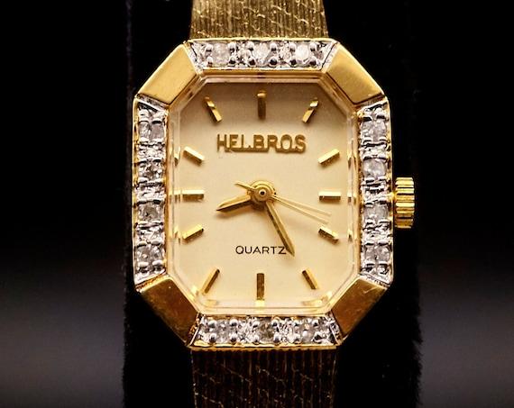 1980s Helbros Diamond Cocktail Watch | Dainty American Mid Century Women's Wristwatch | FULL RESTORATION