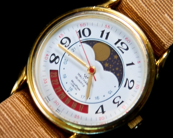 1980s Waltham Men's/Unisex Vintage Moonphase Watch | Full Mechanical Restoration | Stars & Celestial Watch | Free batteries for life!