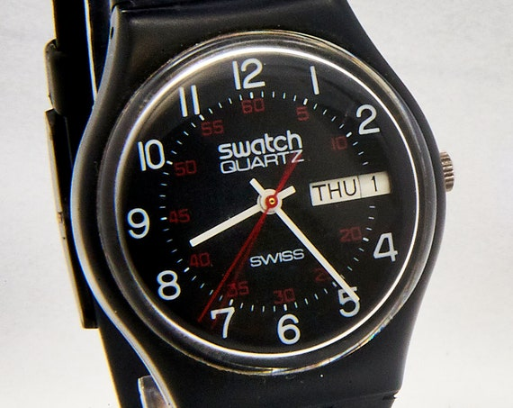 Vintage 1983 Swatch Watch • Old School Original Unisex 34mm GB701 • RARE Early Model for Collectors • Radical Retro 1980s Style